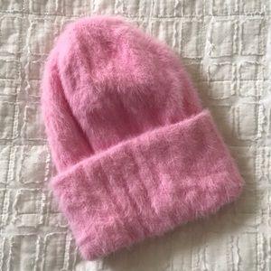 Free people pink fuzzy beanie